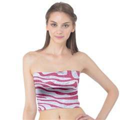 Skin2 White Marble & Pink Denim (r) Tube Top by trendistuff