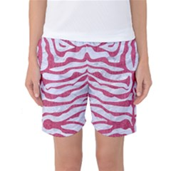 Skin2 White Marble & Pink Denim (r) Women s Basketball Shorts by trendistuff