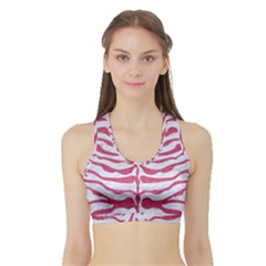 Skin2 White Marble & Pink Denim (r) Sports Bra With Border by trendistuff