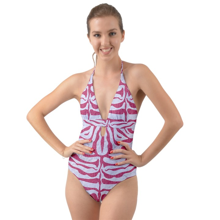SKIN2 WHITE MARBLE & PINK DENIM (R) Halter Cut-Out One Piece Swimsuit