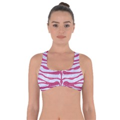 Skin2 White Marble & Pink Denim (r) Got No Strings Sports Bra by trendistuff