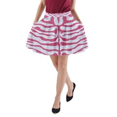 Skin2 White Marble & Pink Denim (r) A Line Pocket Skirt
