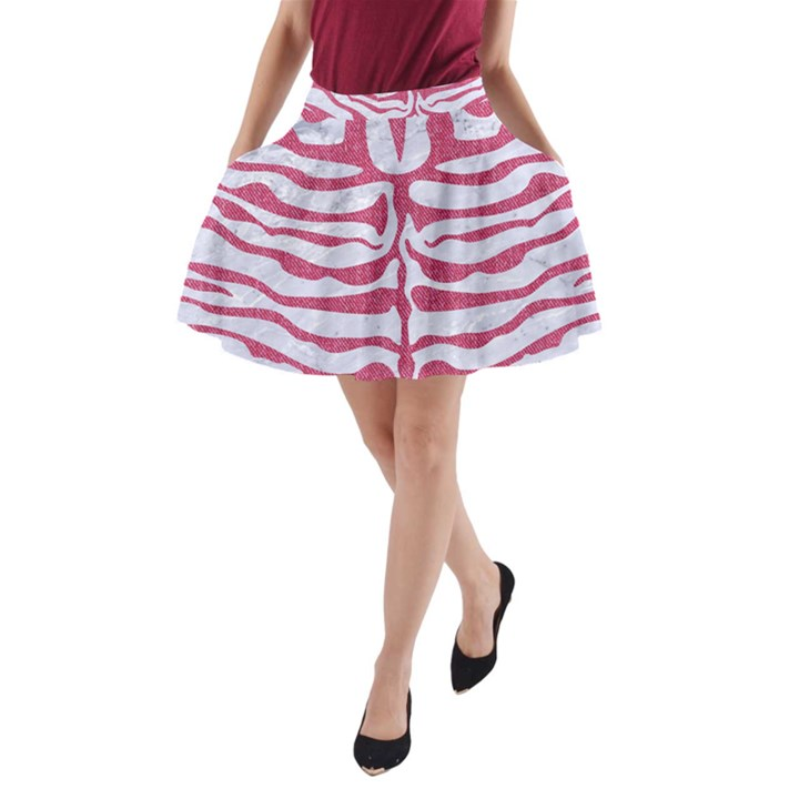SKIN2 WHITE MARBLE & PINK DENIM (R) A-Line Pocket Skirt
