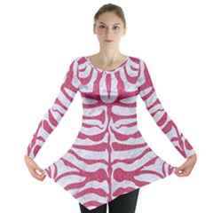 Skin2 White Marble & Pink Denim (r) Long Sleeve Tunic