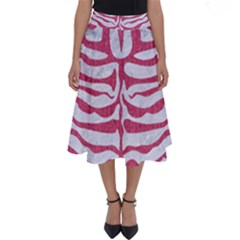 Skin2 White Marble & Pink Denim (r) Perfect Length Midi Skirt