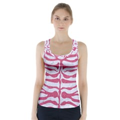 Skin2 White Marble & Pink Denim (r) Racer Back Sports Top by trendistuff