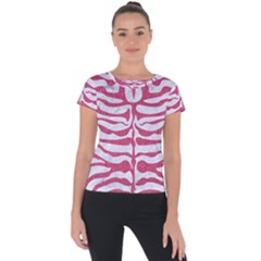Skin2 White Marble & Pink Denim (r) Short Sleeve Sports Top  by trendistuff