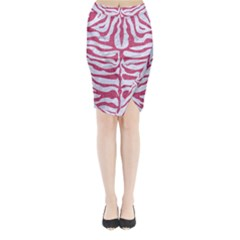 Skin2 White Marble & Pink Denim (r) Midi Wrap Pencil Skirt