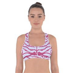 Skin2 White Marble & Pink Denim (r) Cross Back Sports Bra by trendistuff