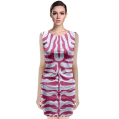 Skin2 White Marble & Pink Denim (r) Sleeveless Velvet Midi Dress by trendistuff