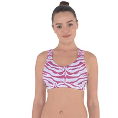 Skin2 White Marble & Pink Denim (r) Cross String Back Sports Bra by trendistuff