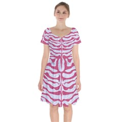 Skin2 White Marble & Pink Denim (r) Short Sleeve Bardot Dress by trendistuff