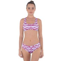 Skin2 White Marble & Pink Denim (r) Criss Cross Bikini Set by trendistuff