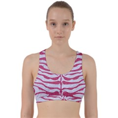 Skin2 White Marble & Pink Denim (r) Back Weave Sports Bra by trendistuff