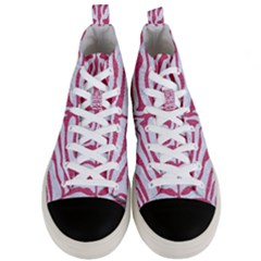 Skin2 White Marble & Pink Denim (r) Men s Mid Top Canvas Sneakers