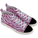 SKIN2 WHITE MARBLE & PINK DENIM (R) Men s Mid-Top Canvas Sneakers View3