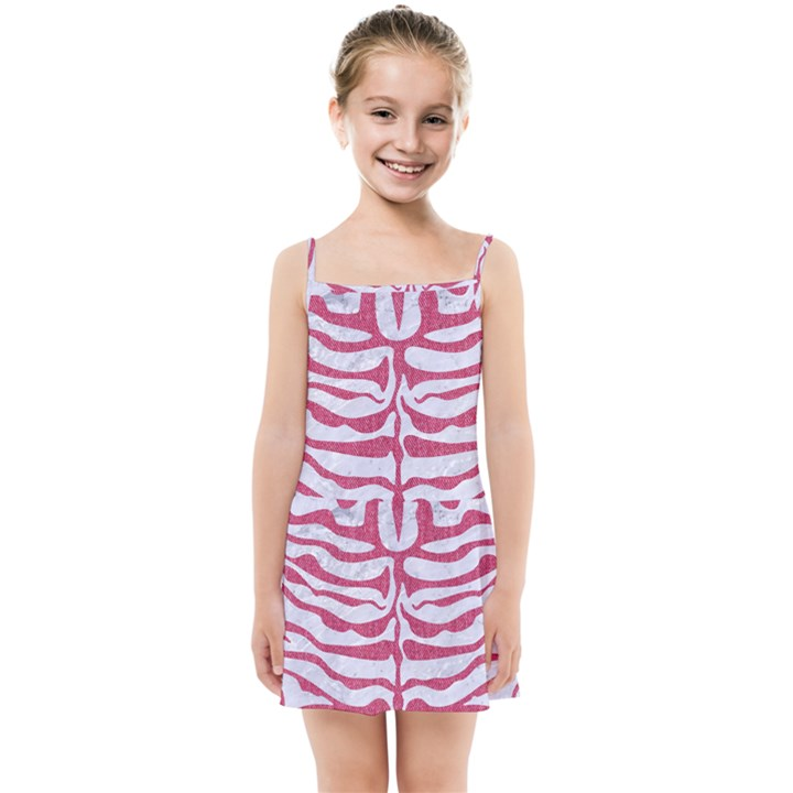 SKIN2 WHITE MARBLE & PINK DENIM (R) Kids Summer Sun Dress
