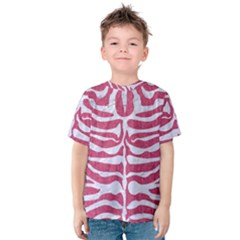 Skin2 White Marble & Pink Denim Kids  Cotton Tee by trendistuff