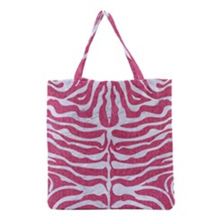 Skin2 White Marble & Pink Denim Grocery Tote Bag by trendistuff