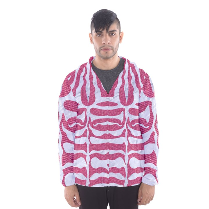 SKIN2 WHITE MARBLE & PINK DENIM Hooded Windbreaker (Men)