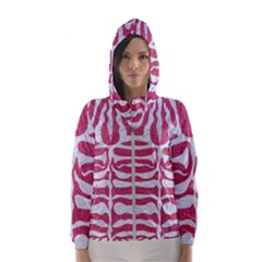 Skin2 White Marble & Pink Denim Hooded Windbreaker (women) by trendistuff