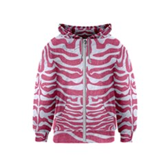 Skin2 White Marble & Pink Denim Kids  Zipper Hoodie