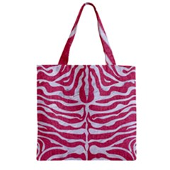 Skin2 White Marble & Pink Denim Zipper Grocery Tote Bag by trendistuff