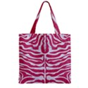 SKIN2 WHITE MARBLE & PINK DENIM Zipper Grocery Tote Bag View1