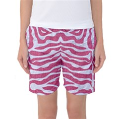Skin2 White Marble & Pink Denim Women s Basketball Shorts