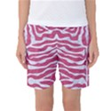 SKIN2 WHITE MARBLE & PINK DENIM Women s Basketball Shorts View1