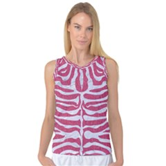 Skin2 White Marble & Pink Denim Women s Basketball Tank Top by trendistuff