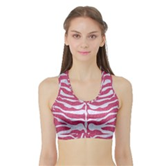 Skin2 White Marble & Pink Denim Sports Bra With Border by trendistuff