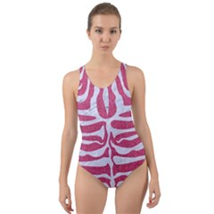Skin2 White Marble & Pink Denim Cut Out Back One Piece Swimsuit