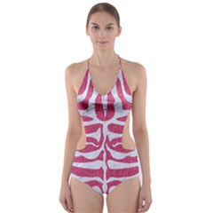 Skin2 White Marble & Pink Denim Cut Out One Piece Swimsuit by trendistuff