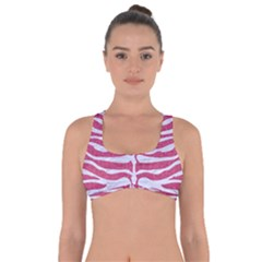 Skin2 White Marble & Pink Denim Got No Strings Sports Bra by trendistuff