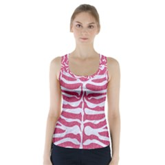 Skin2 White Marble & Pink Denim Racer Back Sports Top by trendistuff