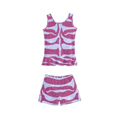 Skin2 White Marble & Pink Denim Kid s Boyleg Swimsuit by trendistuff