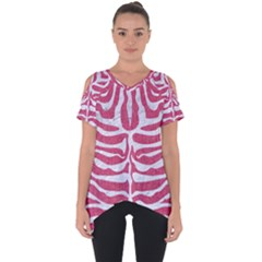 Skin2 White Marble & Pink Denim Cut Out Side Drop Tee