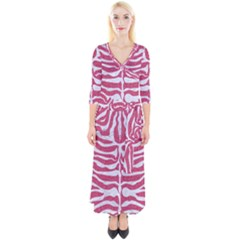 Skin2 White Marble & Pink Denim Quarter Sleeve Wrap Maxi Dress