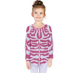 Skin2 White Marble & Pink Denim Kids  Long Sleeve Tee by trendistuff