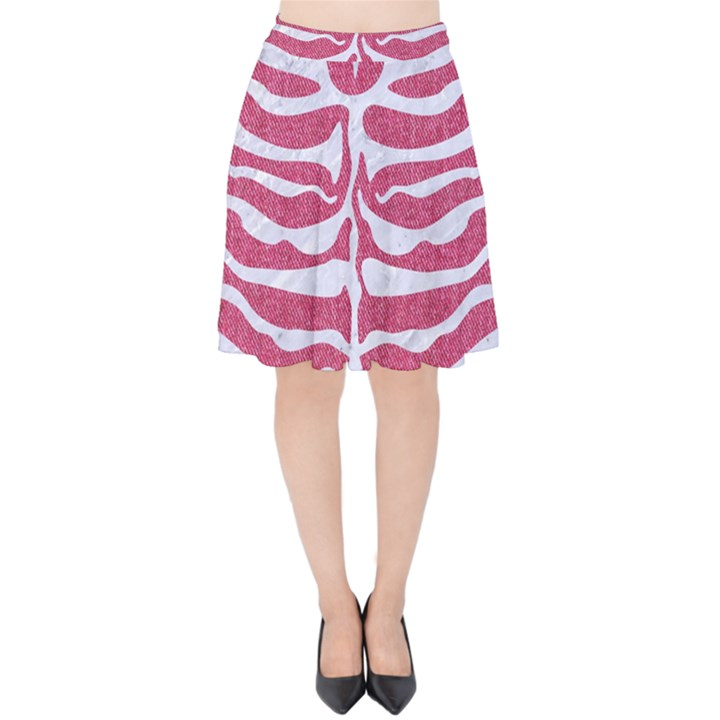 SKIN2 WHITE MARBLE & PINK DENIM Velvet High Waist Skirt
