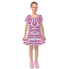 Skin2 White Marble & Pink Denim Kids  Short Sleeve Velvet Dress by trendistuff