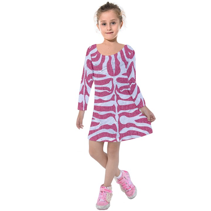 SKIN2 WHITE MARBLE & PINK DENIM Kids  Long Sleeve Velvet Dress
