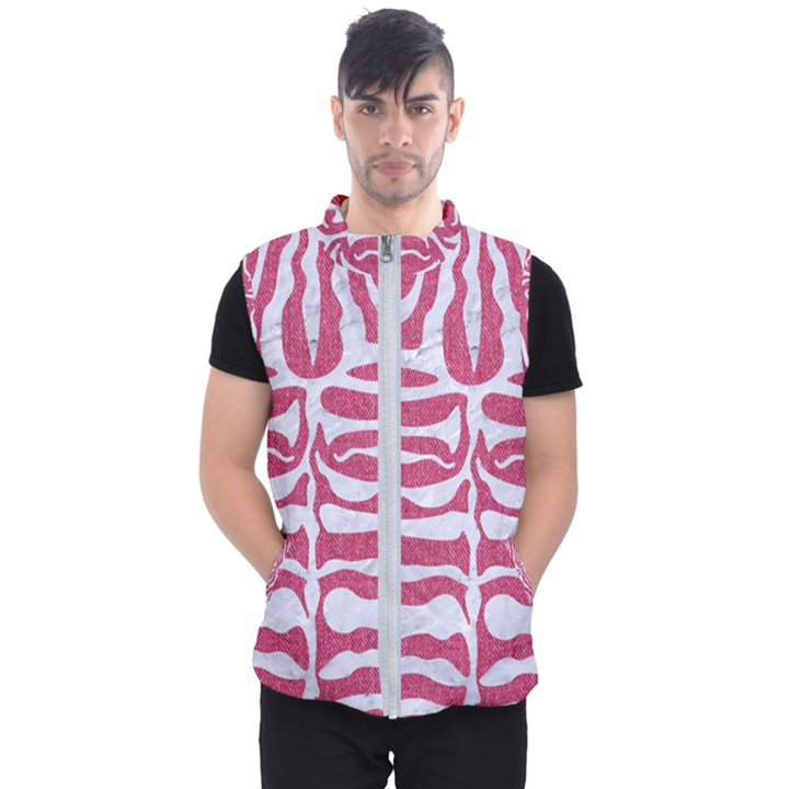 SKIN2 WHITE MARBLE & PINK DENIM Men s Puffer Vest