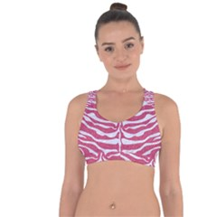 Skin2 White Marble & Pink Denim Cross String Back Sports Bra by trendistuff