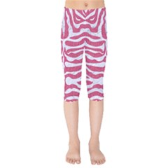 Skin2 White Marble & Pink Denim Kids  Capri Leggings