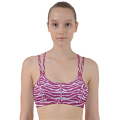 Skin2 White Marble & Pink Denim Line Them Up Sports Bra by trendistuff