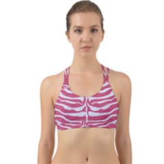 Skin2 White Marble & Pink Denim Back Web Sports Bra