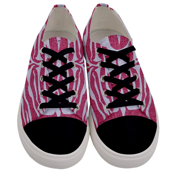 SKIN2 WHITE MARBLE & PINK DENIM Men s Low Top Canvas Sneakers