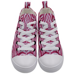 Skin2 White Marble & Pink Denim Kid s Mid Top Canvas Sneakers